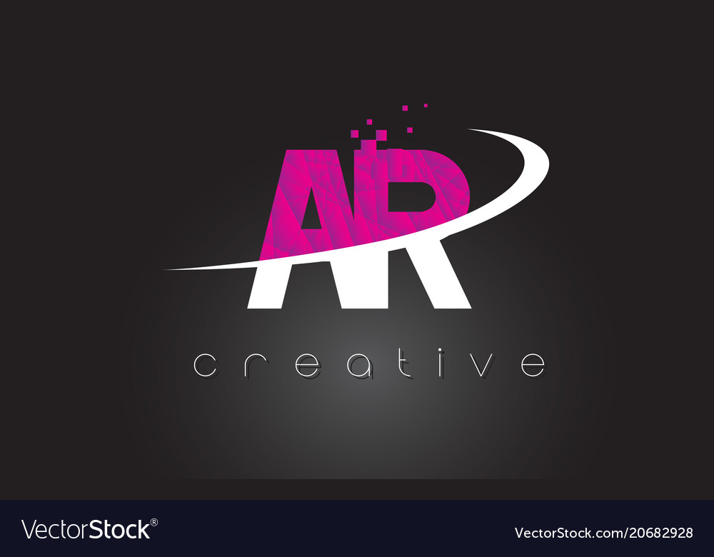 Ar a r creative letters design with white pink
