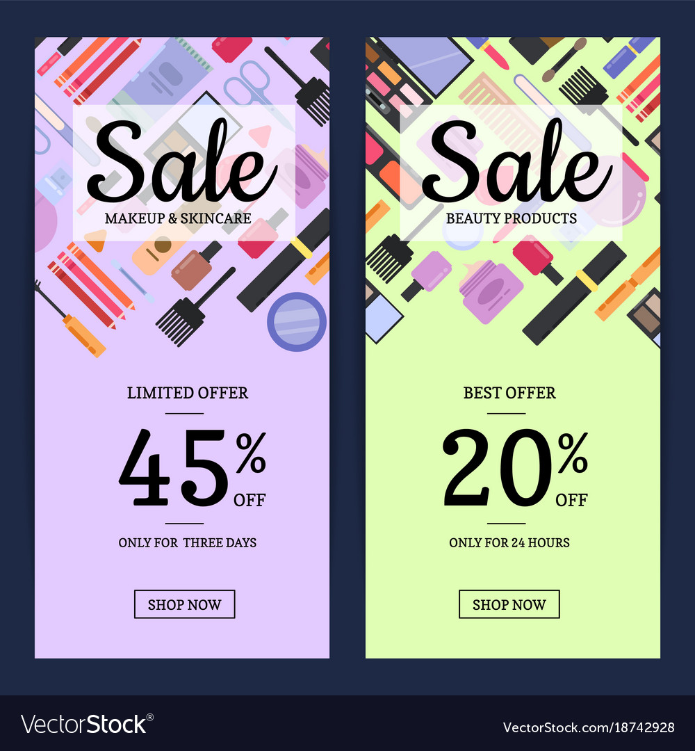 Banners For Beauty Shop With Makeup And Skincare Vector Image