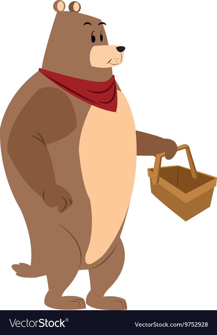 Bear picnic basket draw vector image