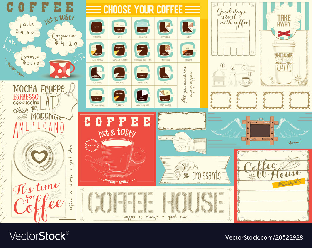 coffee menu placemat template royalty free vector image