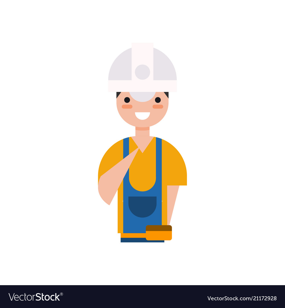 Construction worker character builder in overall