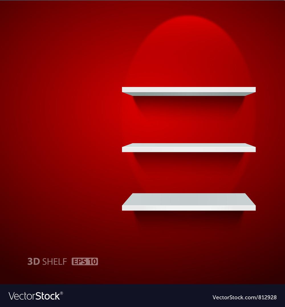Empty white ehelf for exhibit on red background vector image