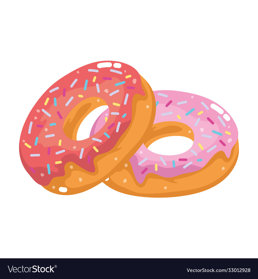 Fast food sweet donut pastry cartoon isolated icon
