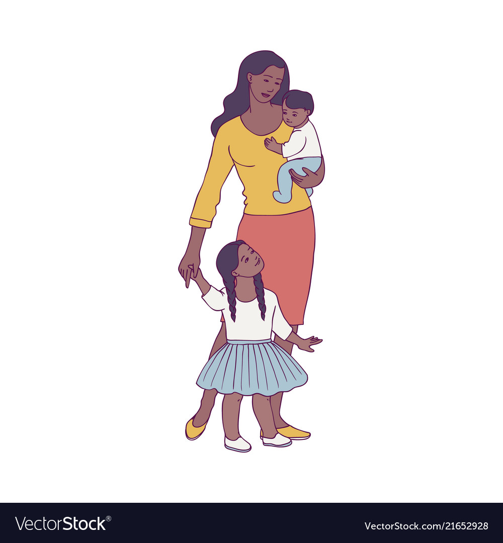 Happy african mother standing with two baby