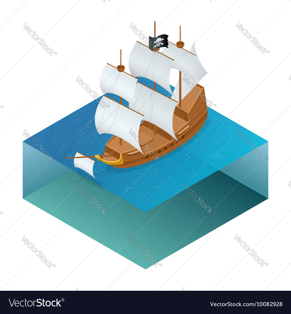 Isometric Pirate Ship with Jolly Roger on water