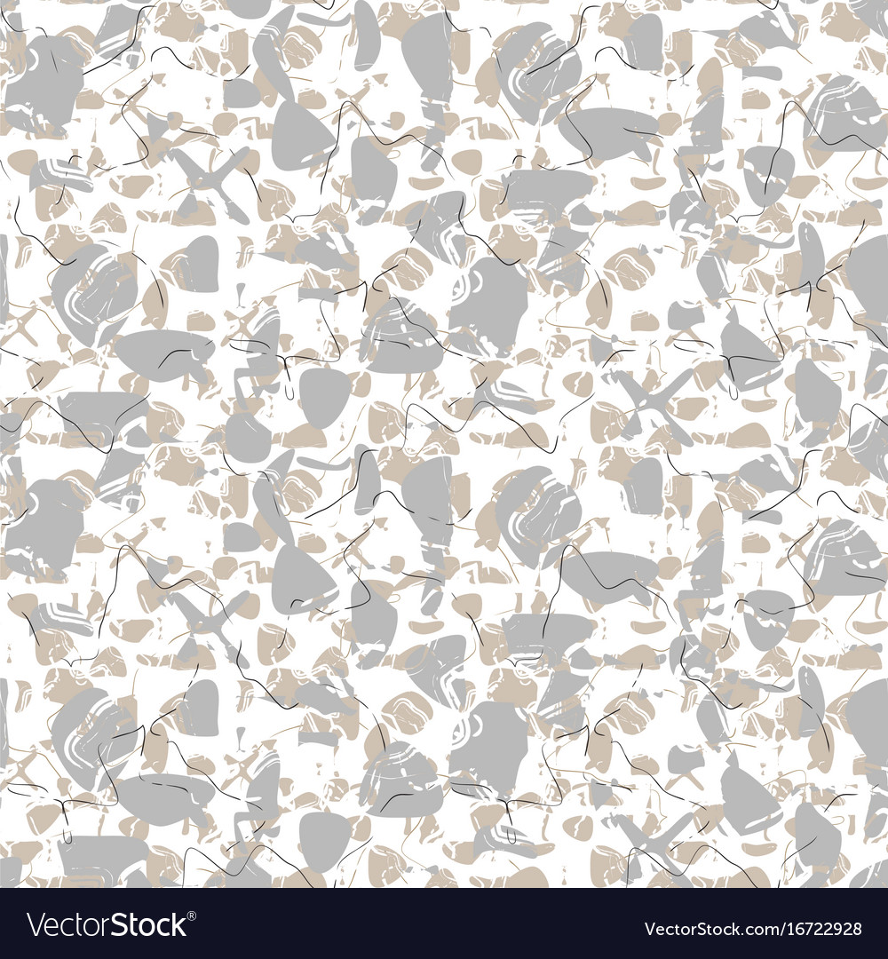Marbled rock seamless white pattern vector image