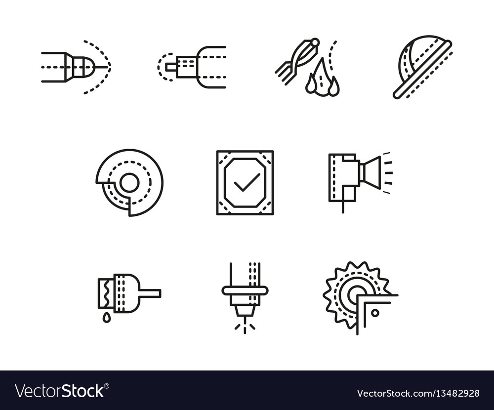 Metalworking equipment black line icons set