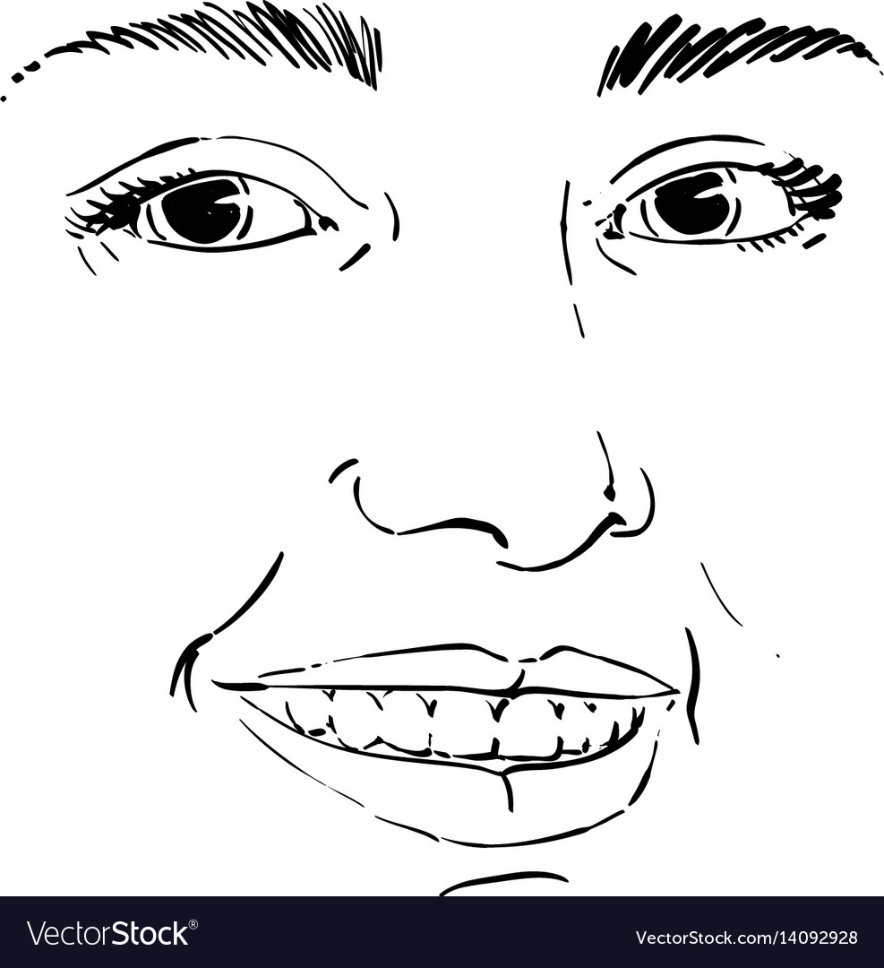 Monochrome hand-drawn mask with face features and vector image