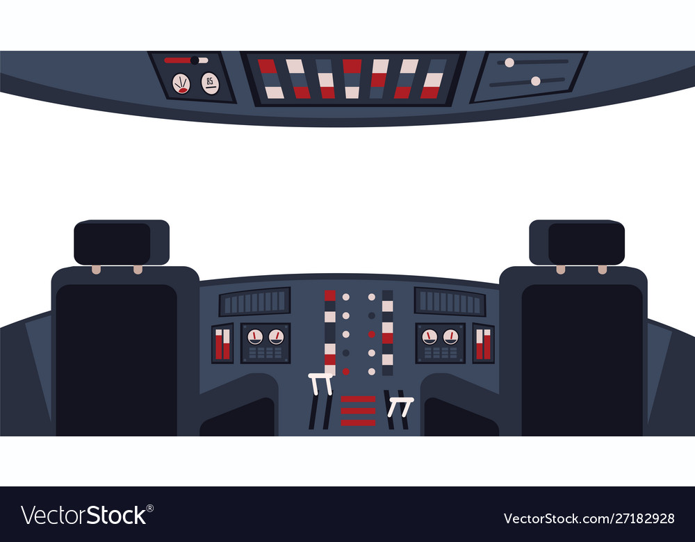 Pilots cockpit interior with dashboard and chairs
