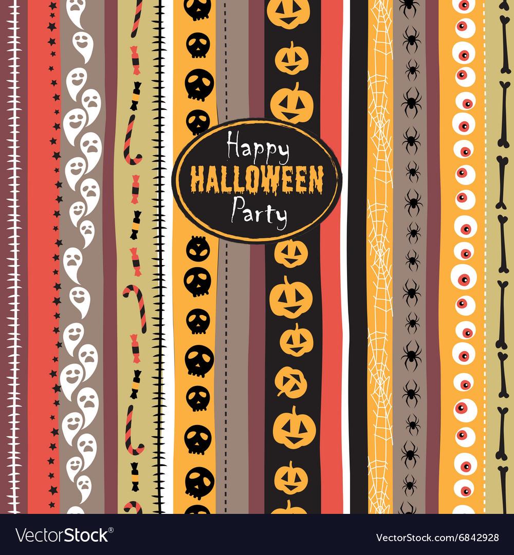 Seamless pattern Vintage Happy Halloween Flat