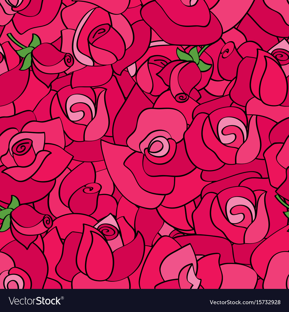Seamless pattern with line roses hand