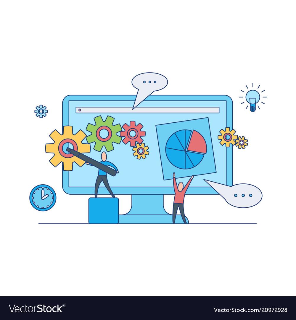 Web design development concept with teamwork on