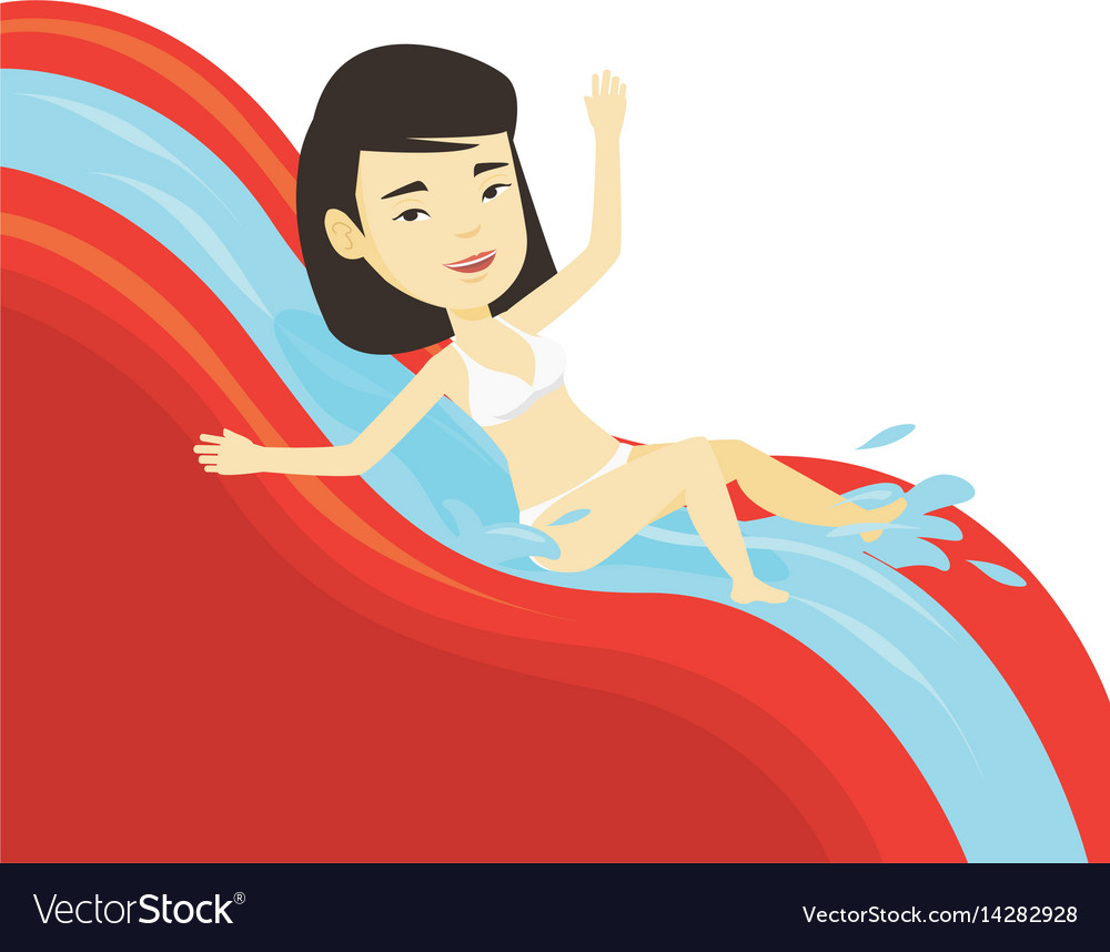 Woman riding down waterslide