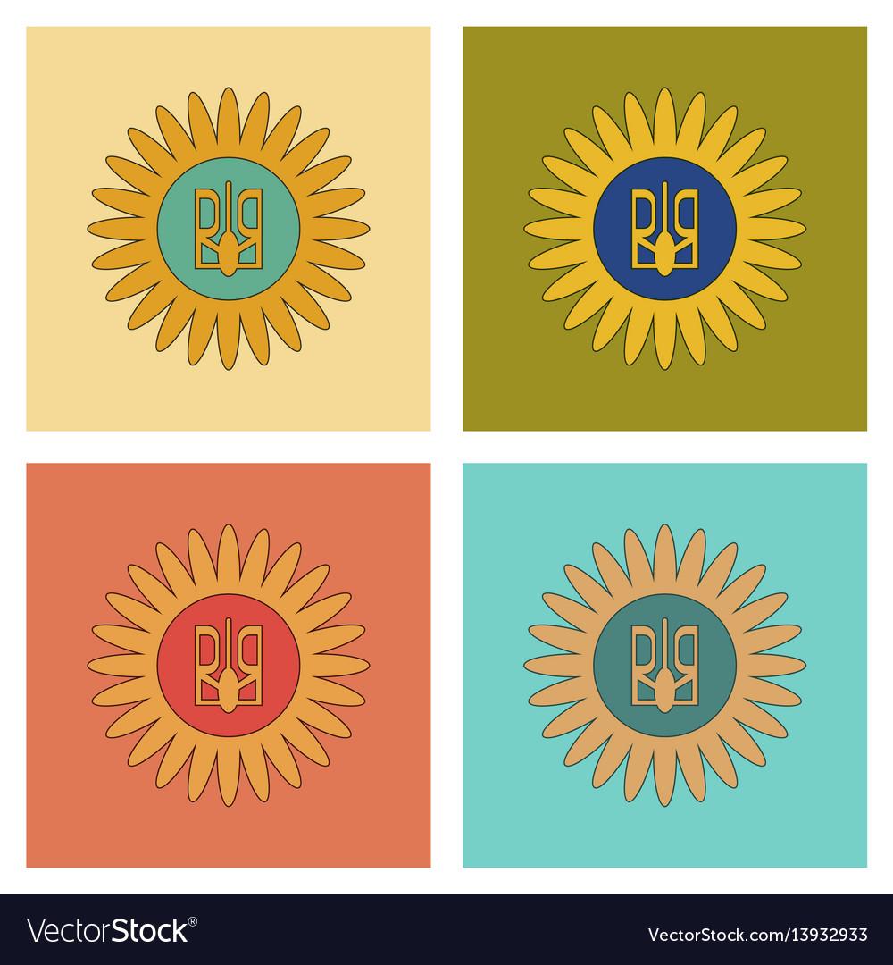 Assembly flat icons emblem of ukraine