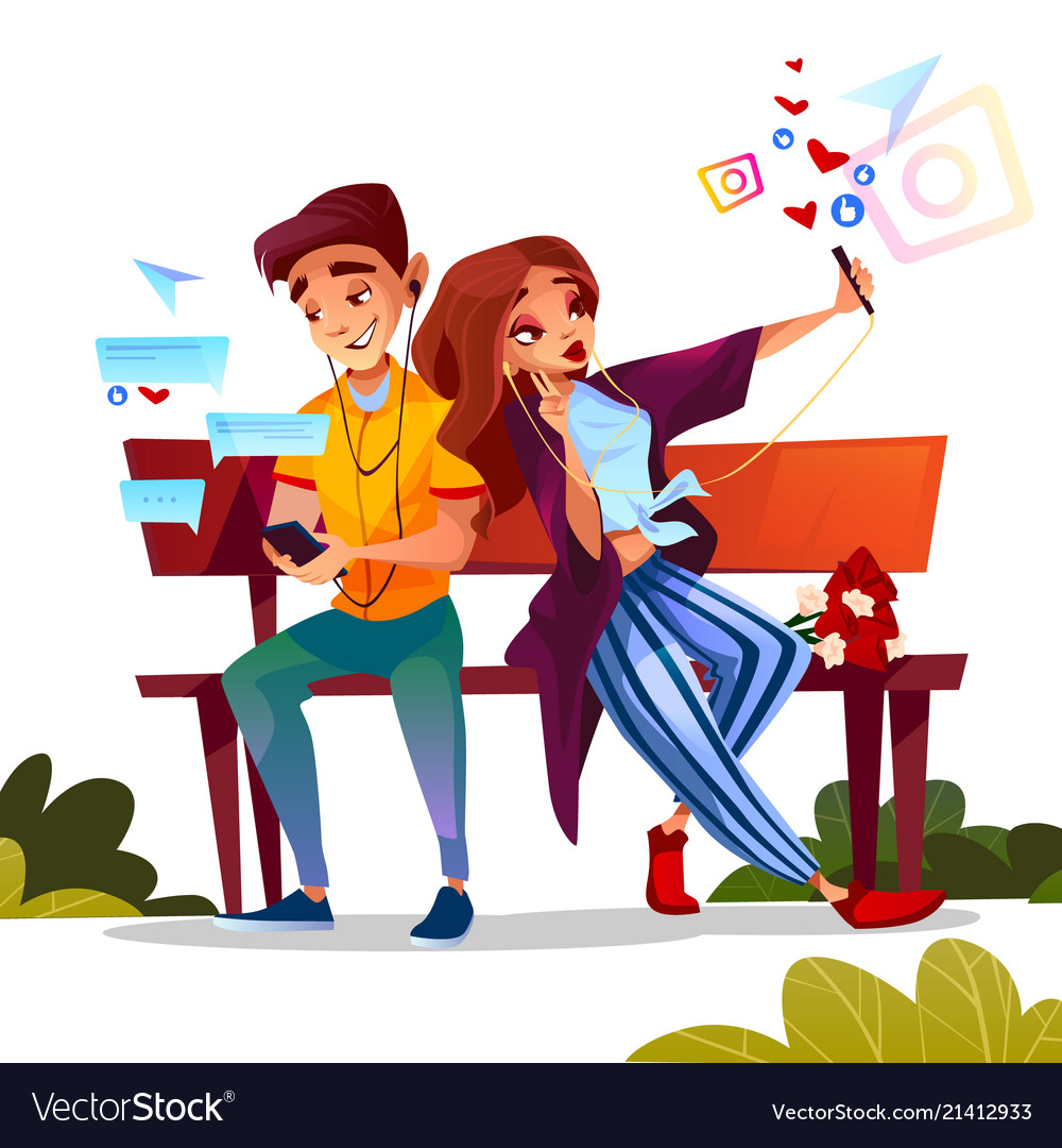 Couple dating with smartphones