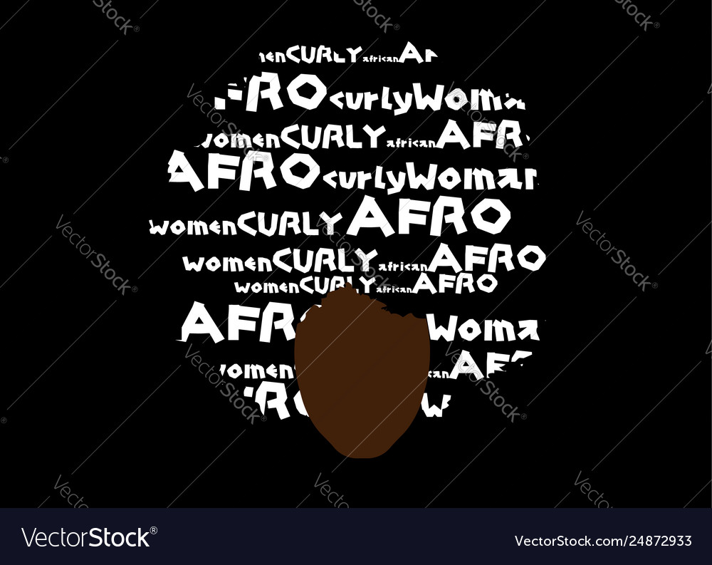 Curly afro hair portrait african woman and text