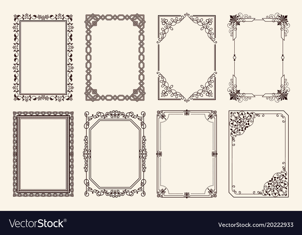 Decorative frames set of curved graphic ornament Vector Image
