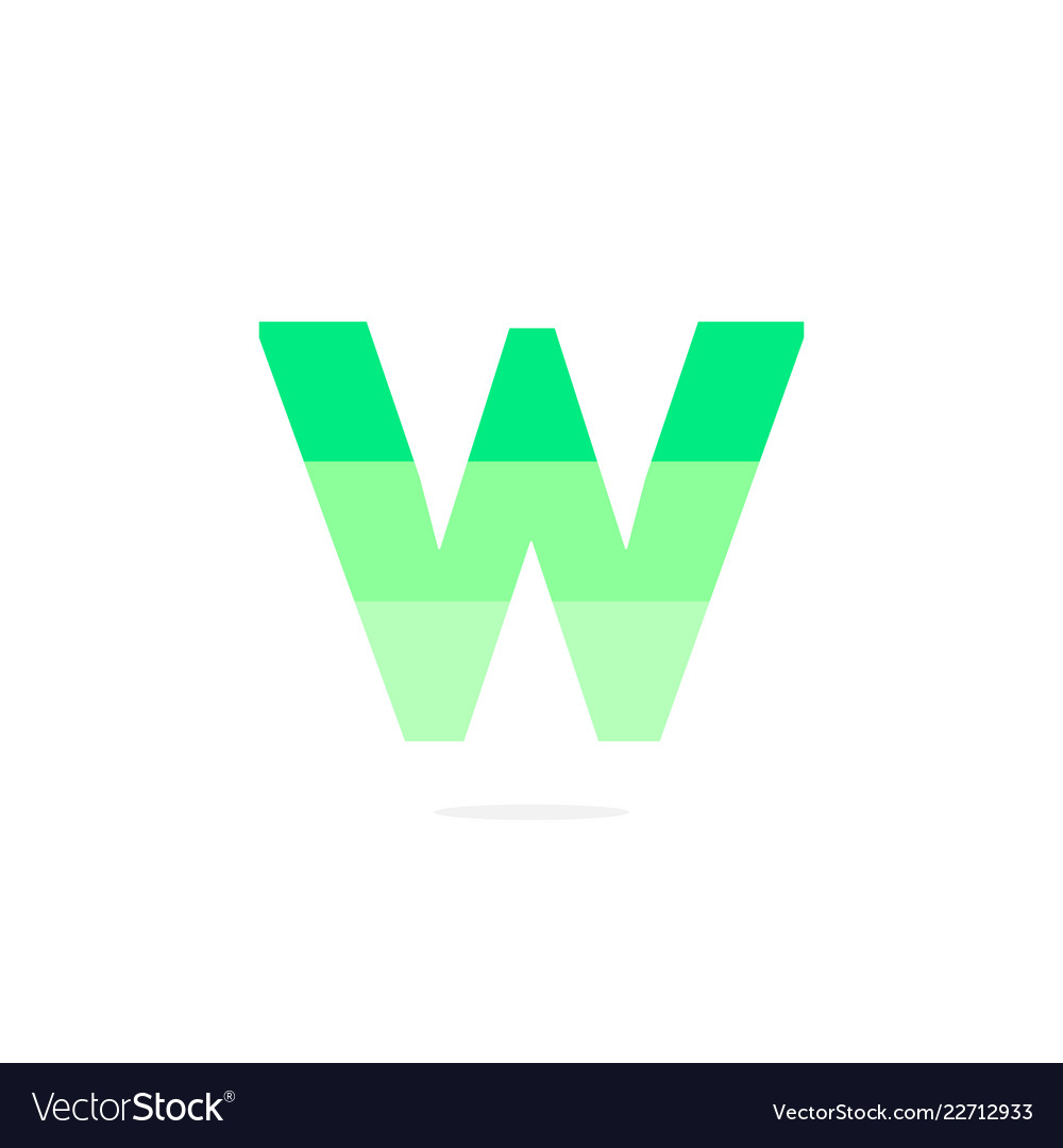 Logo letter w green energy battery