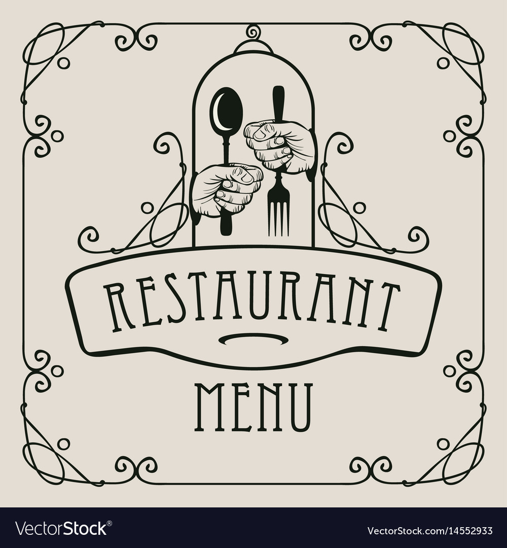 Menu for restaurant with cutlery in hands