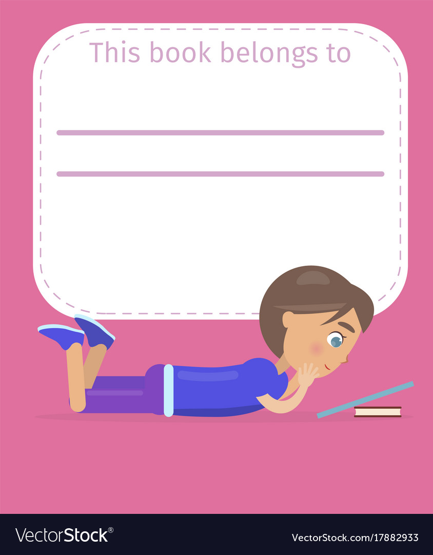 Place for book owner name with boy vector image