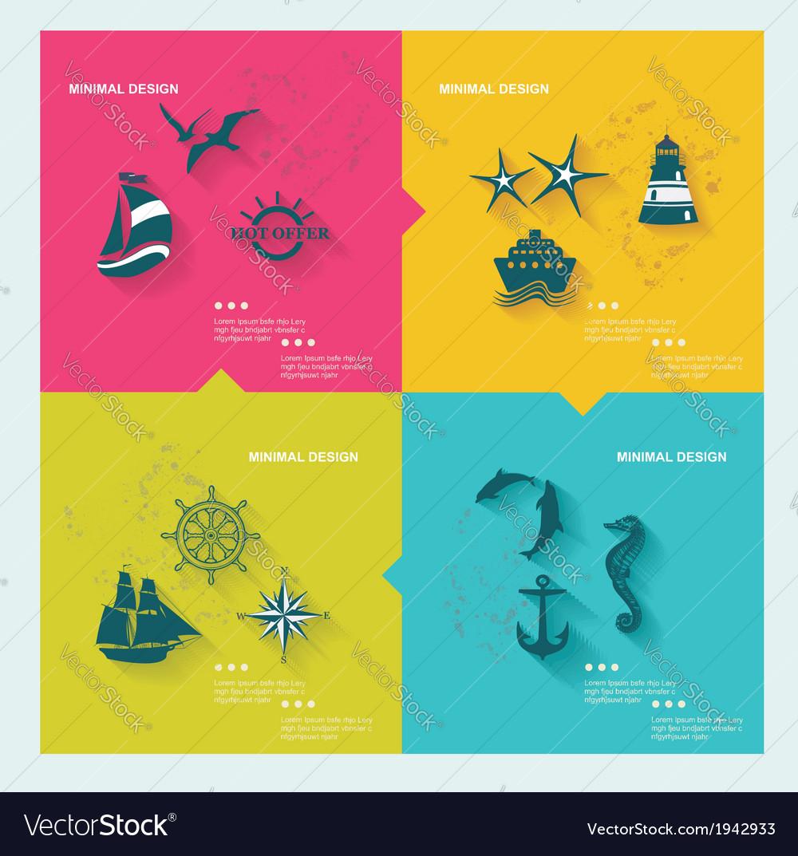 Set sea labels flat design
