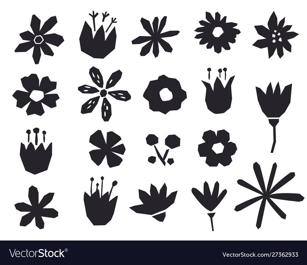 Silhouettes flowers in a geometric style black