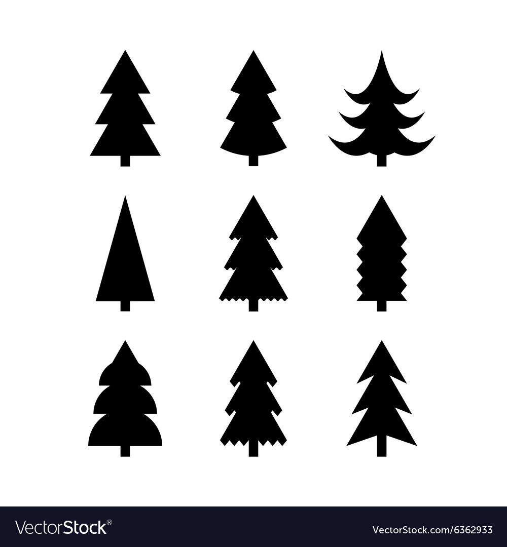 Christmas Tree Vector.Simple Silhouettes Of Christmas Trees
