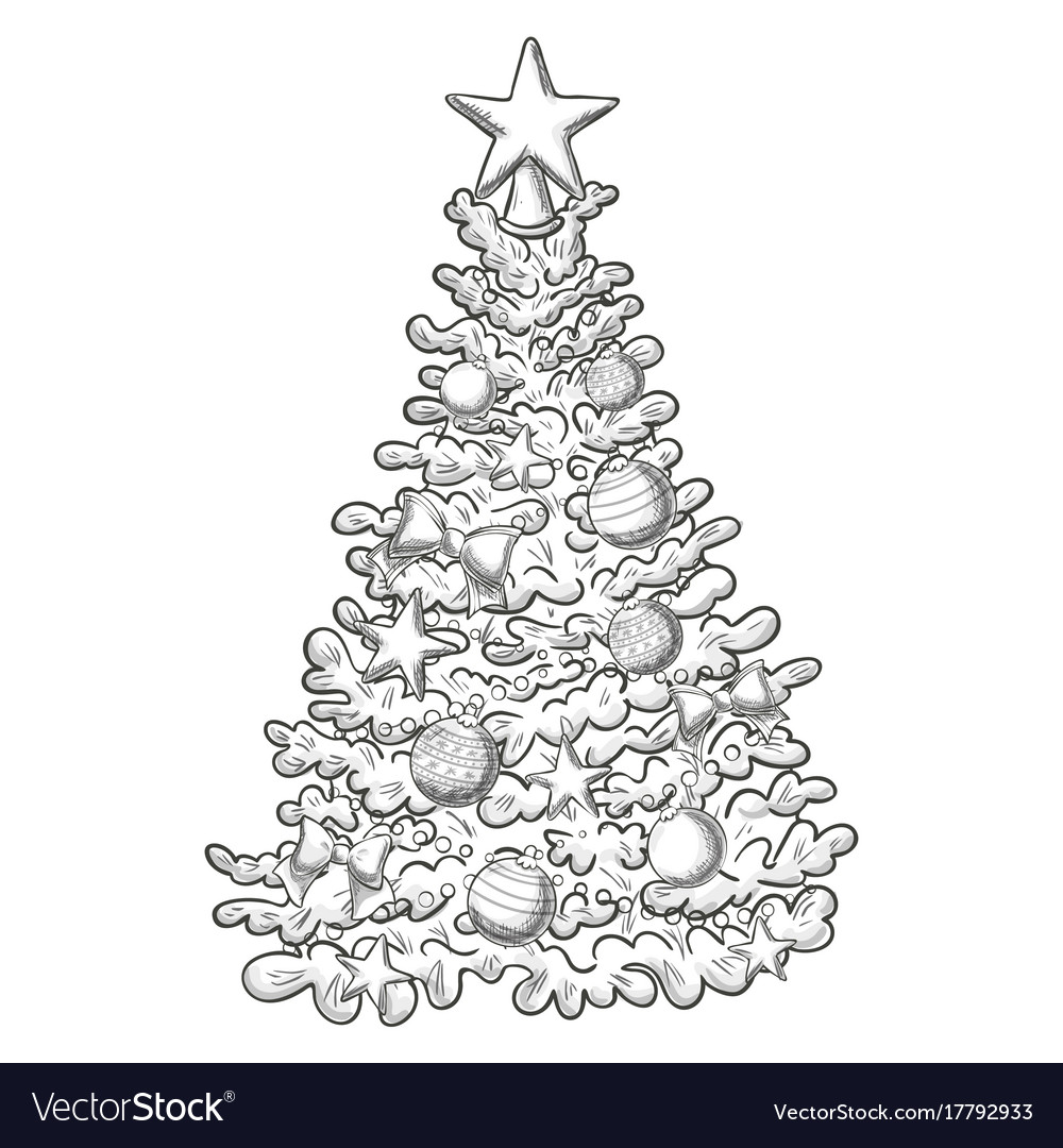 Sketch Of Christmas Tree Royalty Free Vector Image