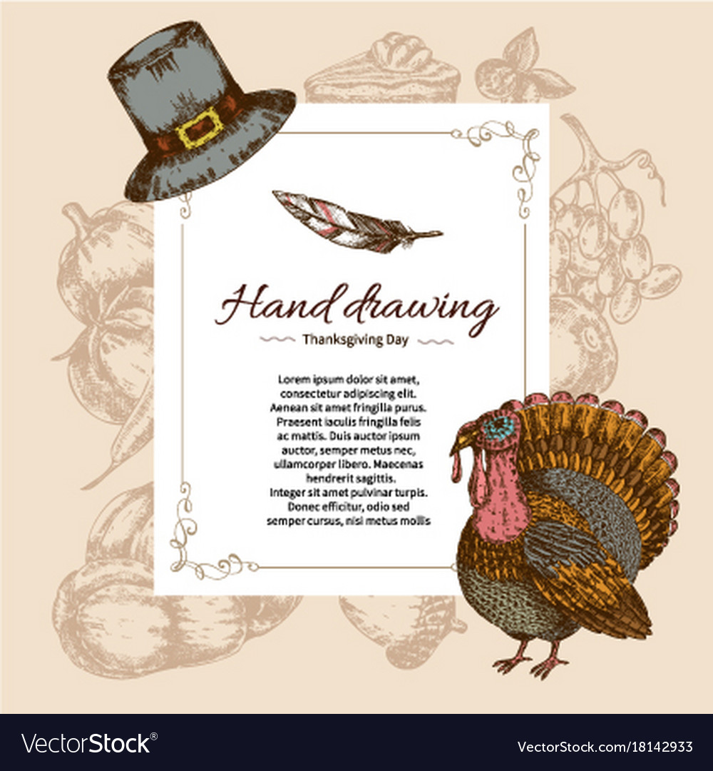 Thanksgiving Day Letter Template Royalty Free Vector Image