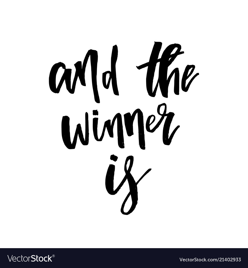 The winner is giveaway lettering text Royalty Free Vector