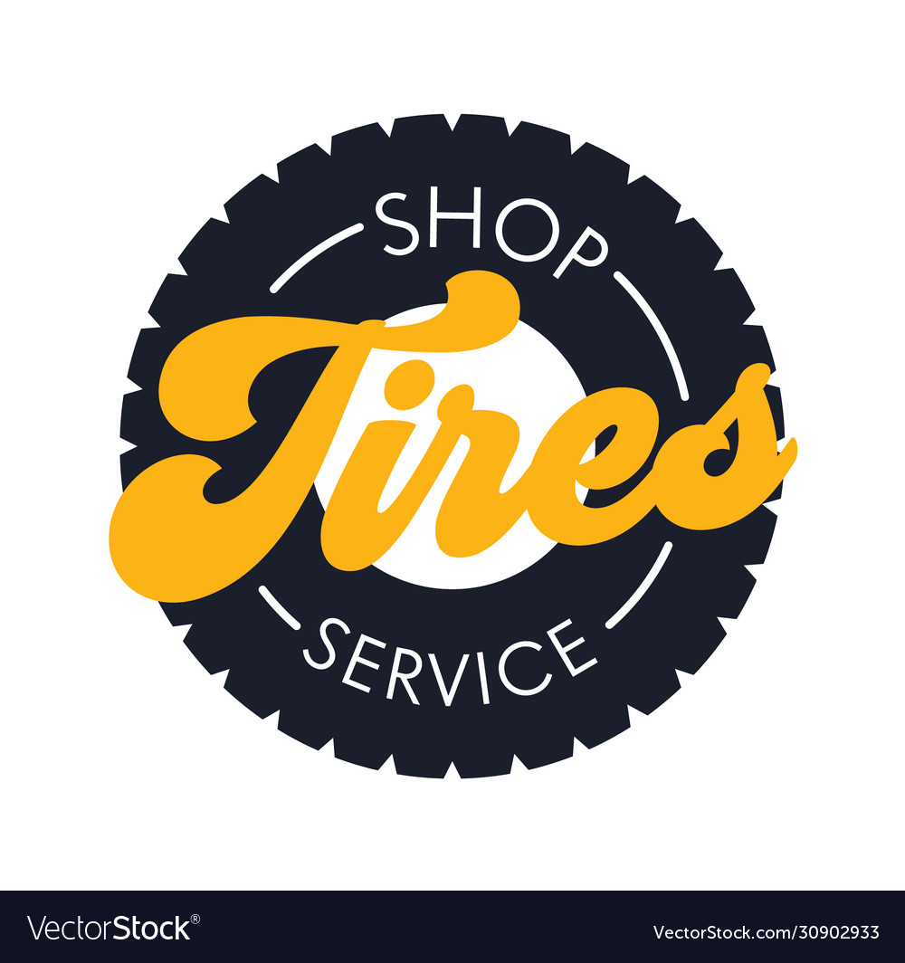 Tires shop service banner in flat style poster