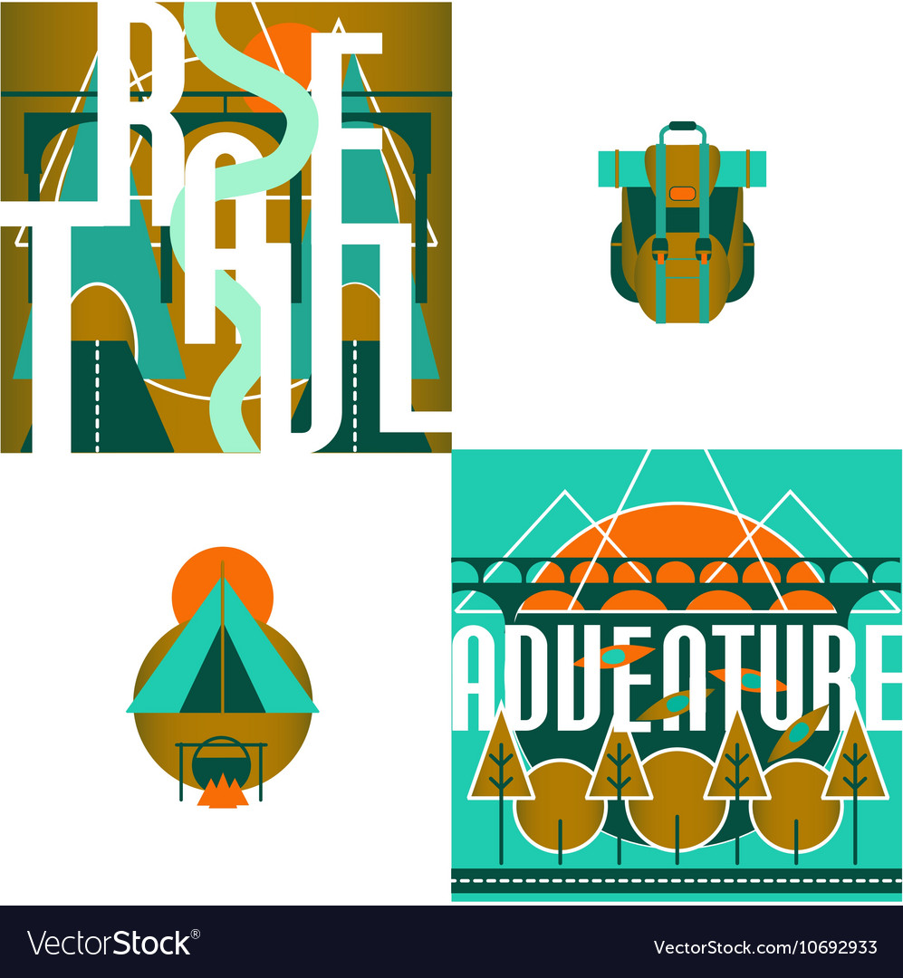 Travel and adventure logo and infographic set