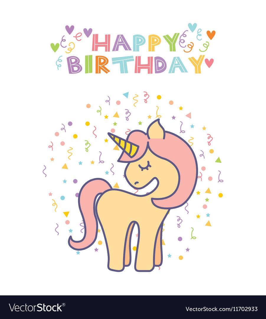 Unicorn Birthday Card Royalty Free Vector Image