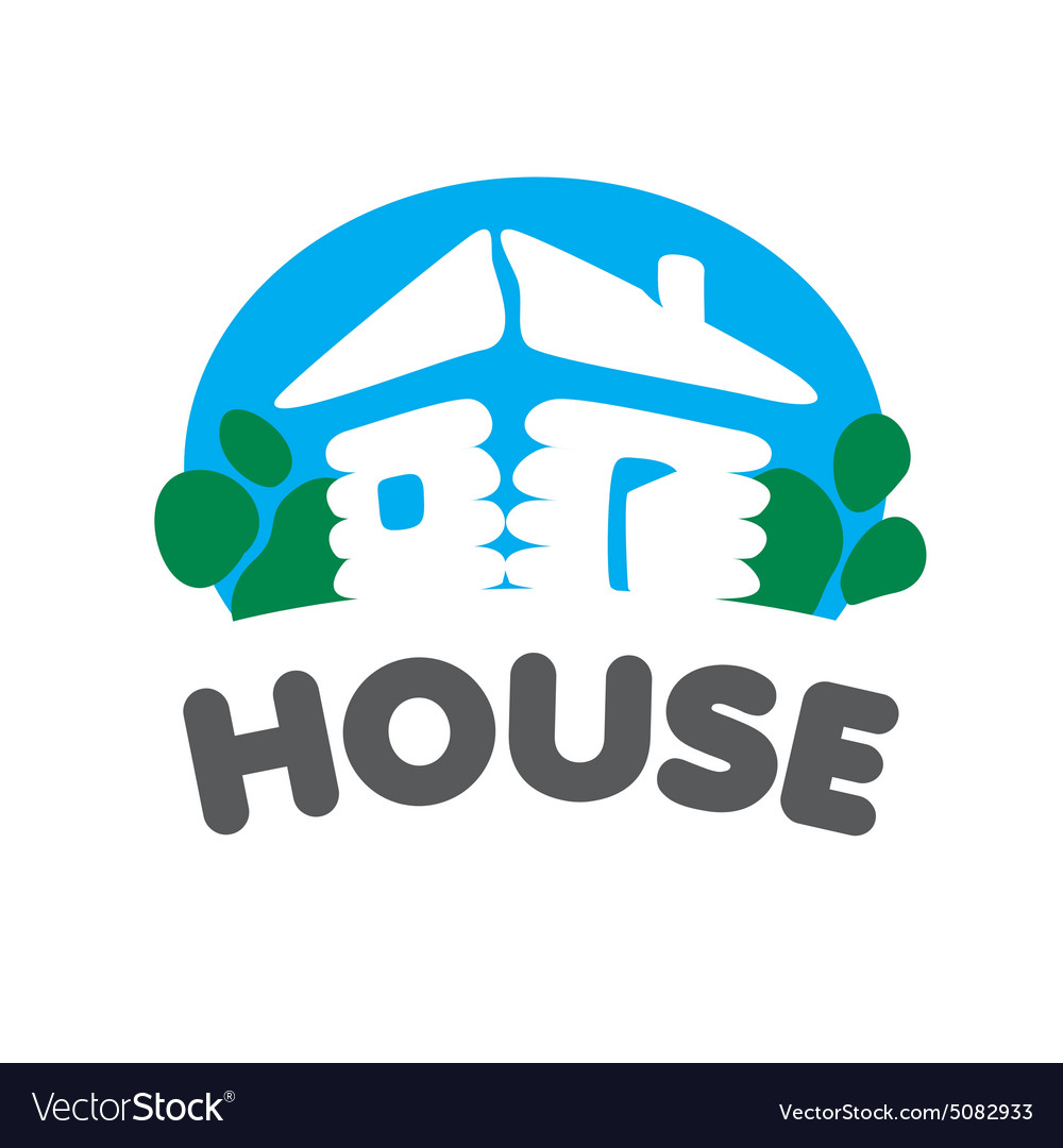 Village house logo on a blue background vector image