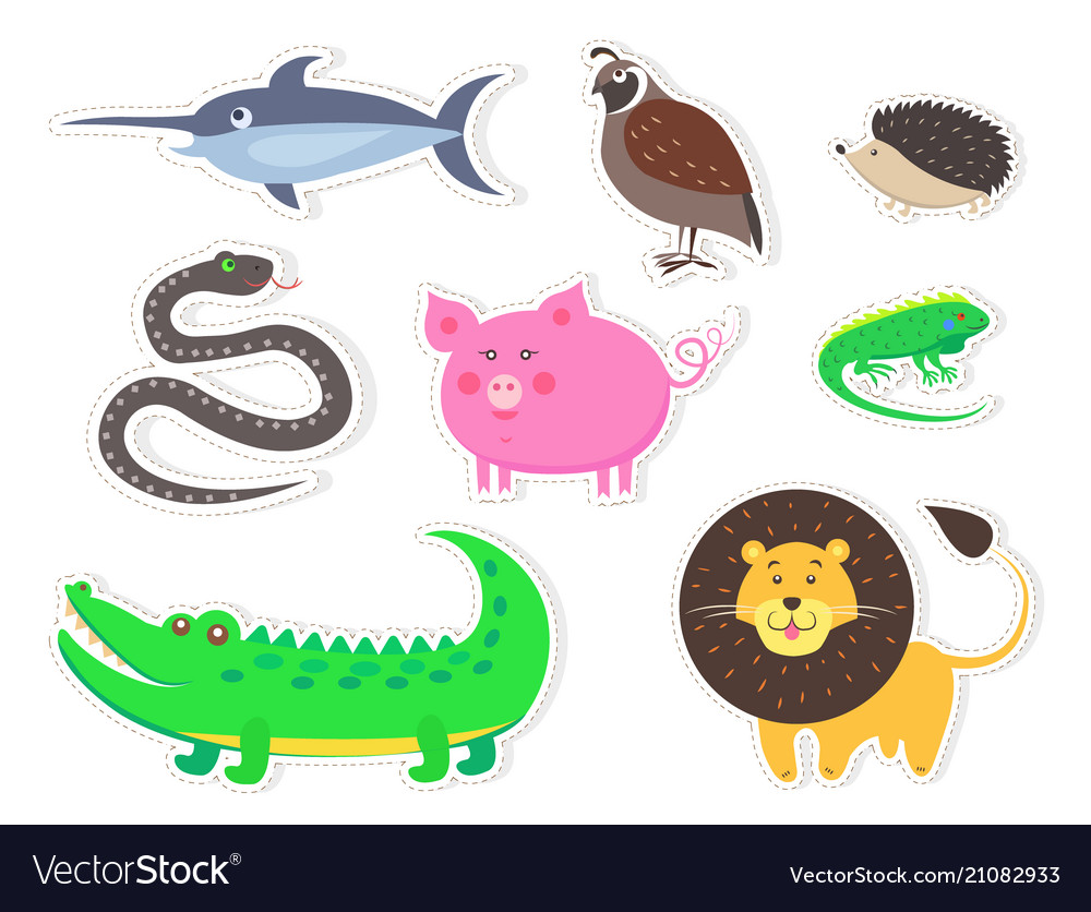 Wild bird animals and fish isolated stickers