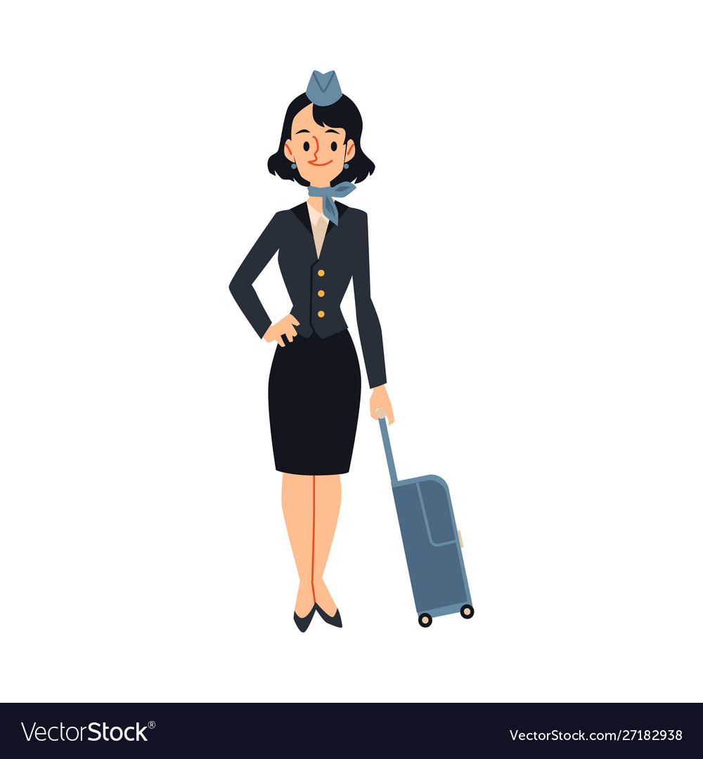 Air hostess or stewardess ready to journey flat