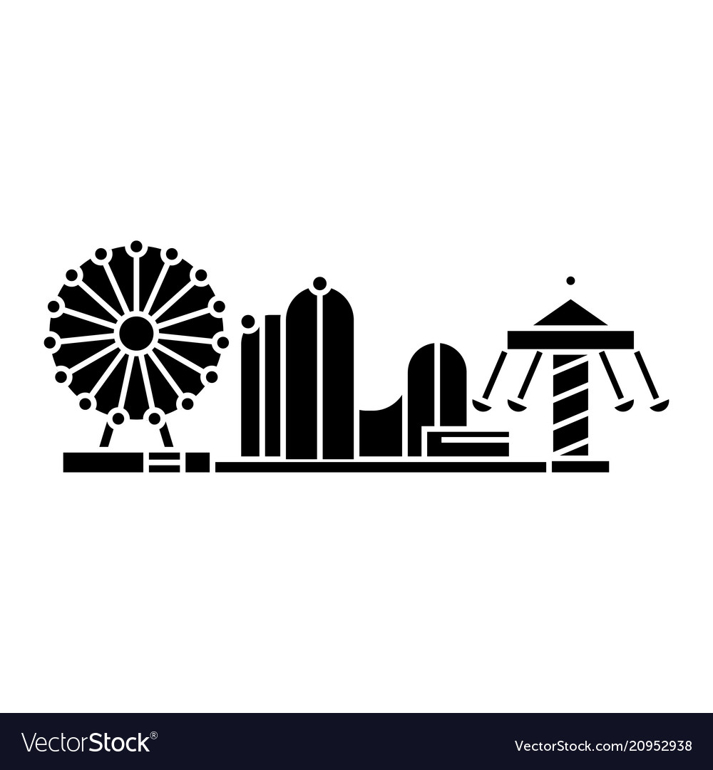 Amusement park black icon concept amusement park vector image