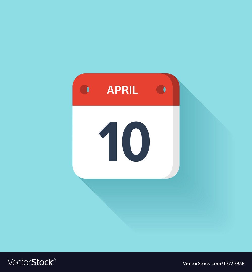 April 10 Isometric Calendar Icon With Shadow