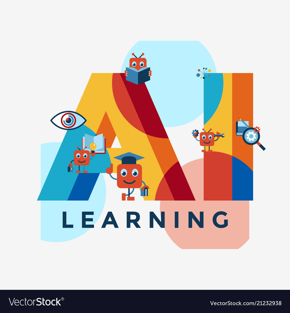 Artificial intelligence self learning icon set