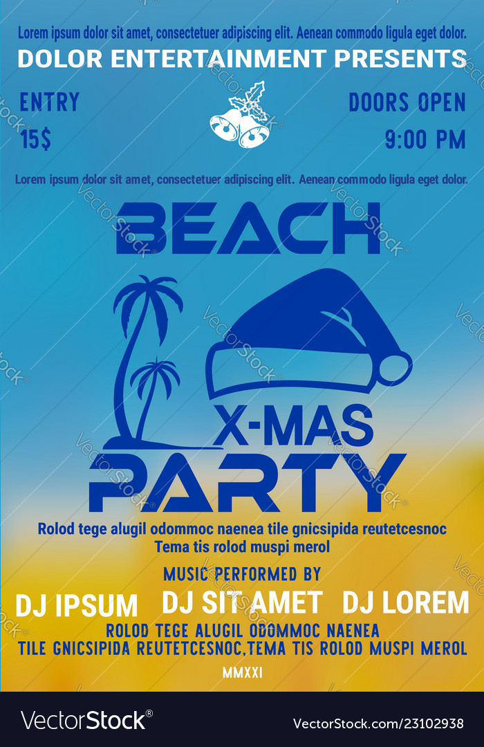 Christmas party at the beach poster or flyer