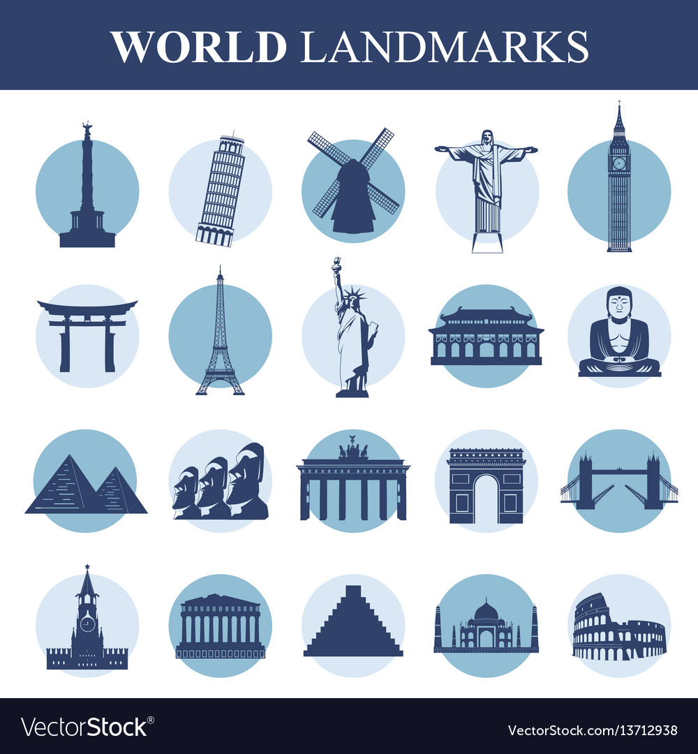 Famous monuments and landmarks icons travel and