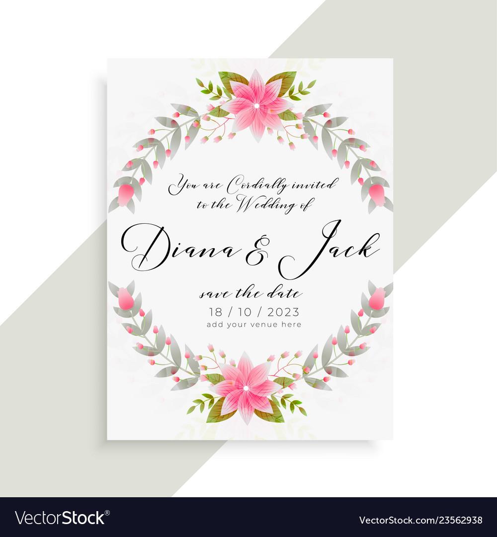 Floral wedding invitation card elegant template Vector Image