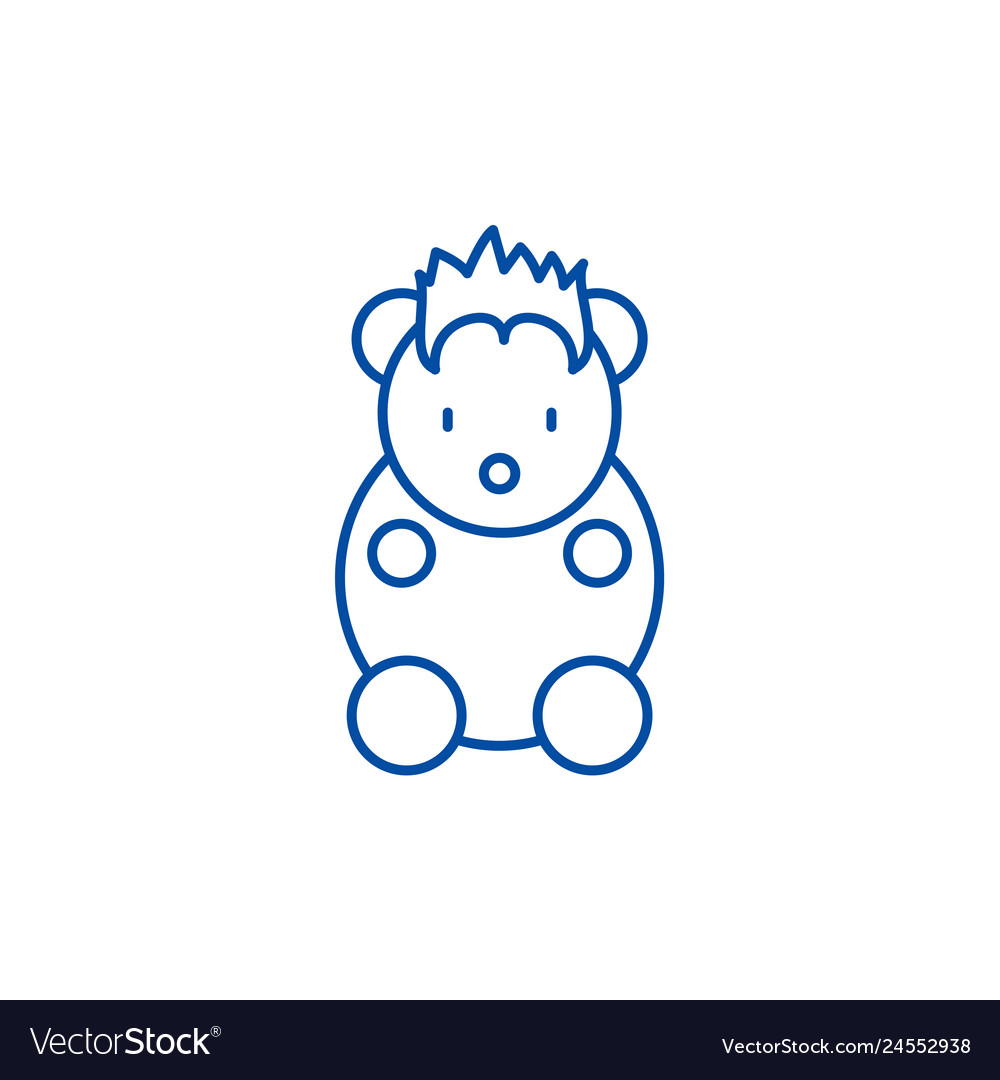 Funny little animal line icon concept funny