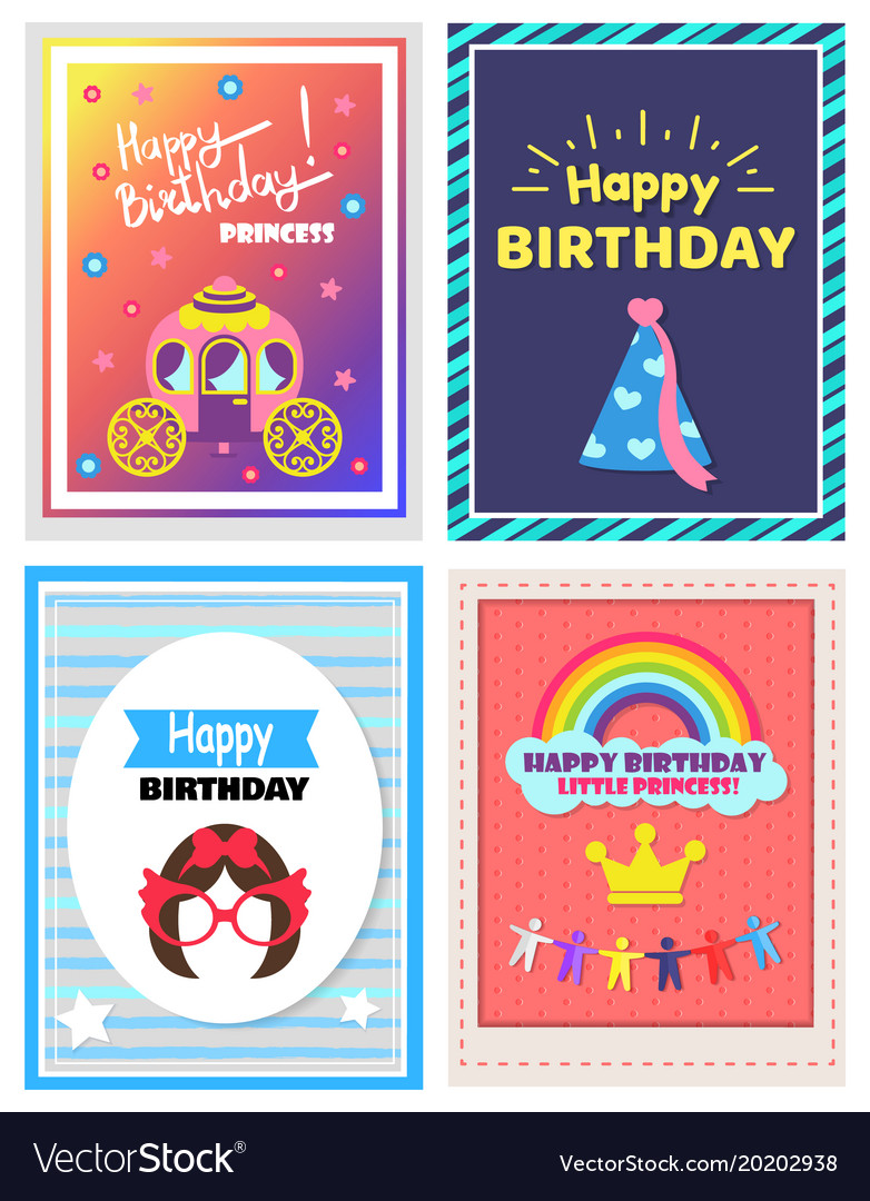 happy birthday little princess set of cute posters