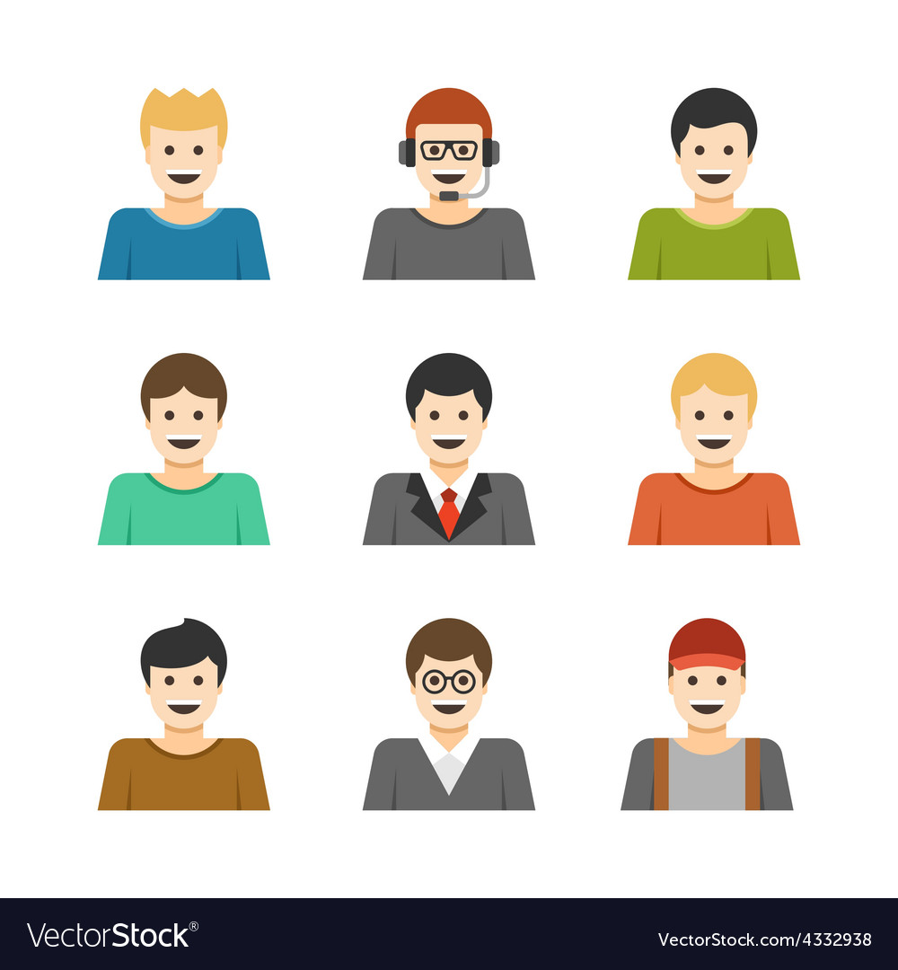 Man Characters Faces Avatars User Profile Cartoon
