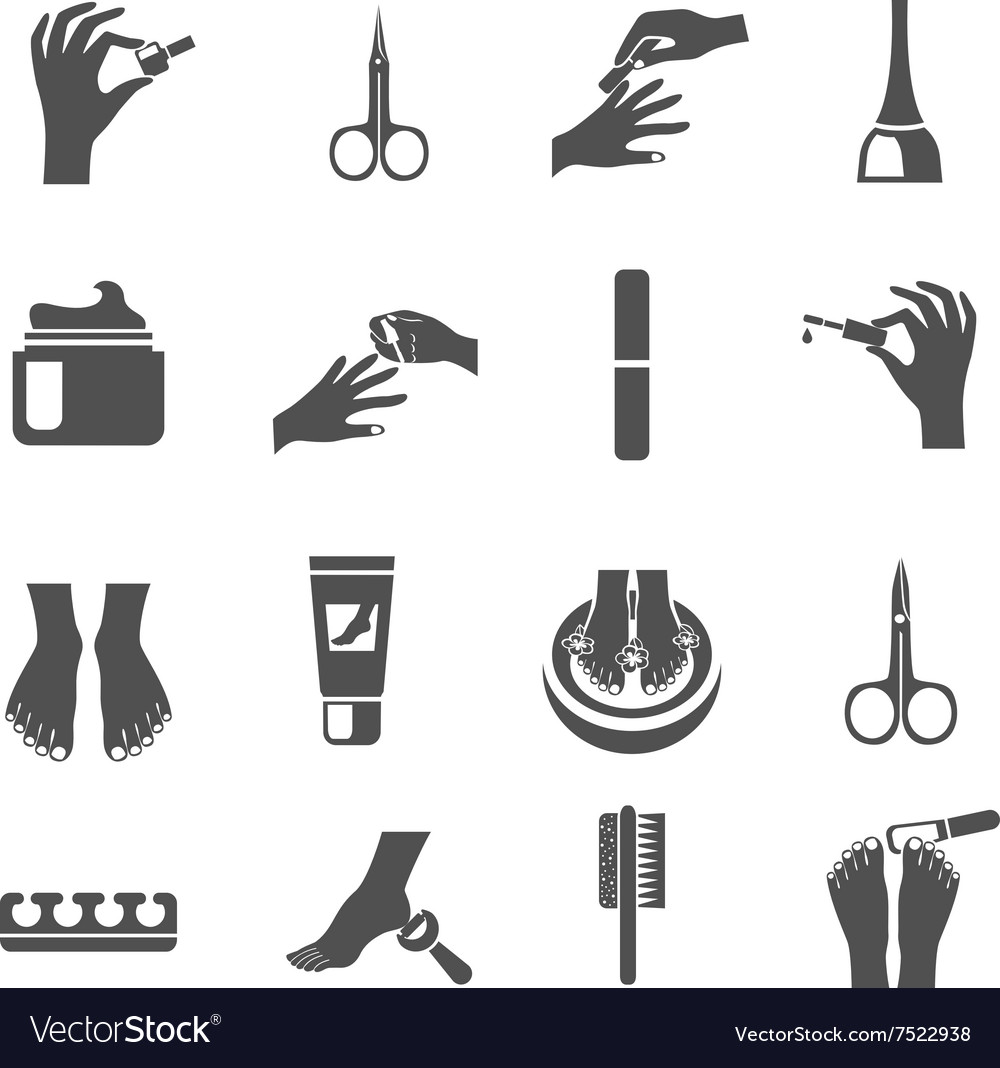 Manicure And Pedicure Black Icons Set vector image