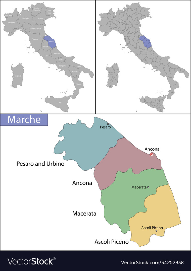 Marche Cartina Province.Ancona Italy Vector Images 43