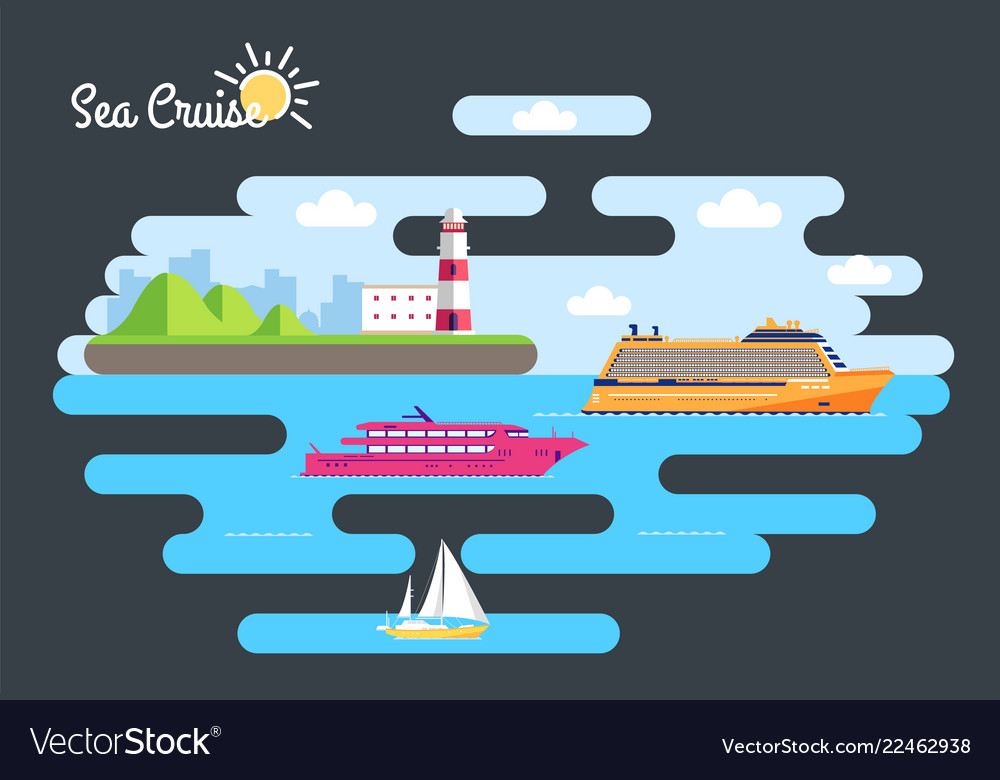 Set of flat yacht scooter boat cargo ship