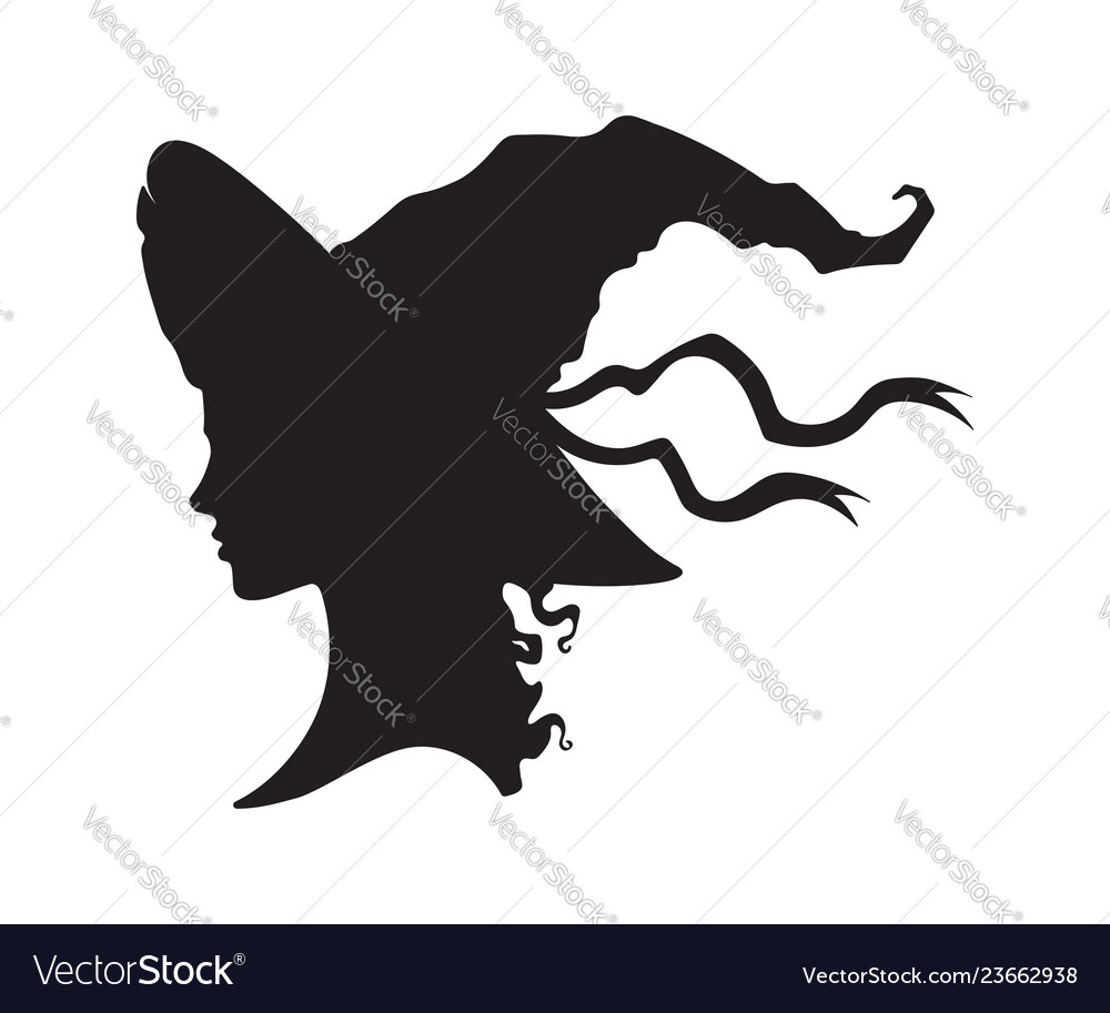Silhouette of beautiful curly witch in pointy hat