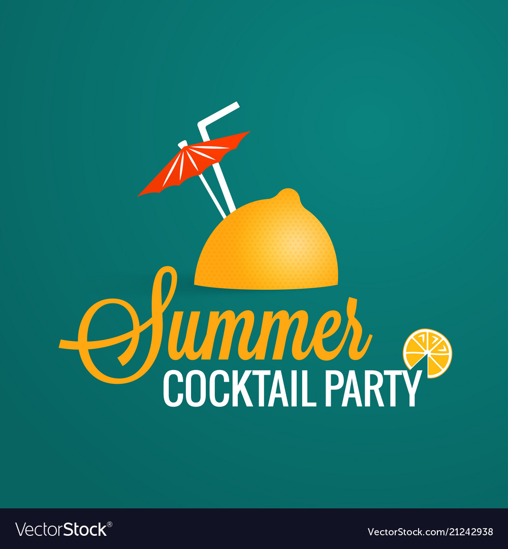 Summer cocktail party lemon with umbrella and